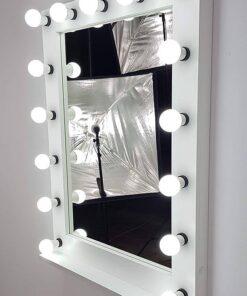 Hollywood Spiegel 100cm hoch mit 17 Lampen in Weiß
