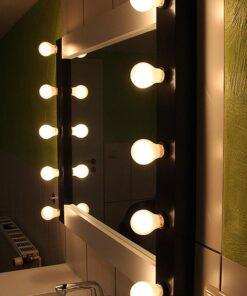 Gledališko ogledalo umetnika Mirror 100cm širok in 80 cm visok, v črni in beli barvi, z držali za svetilke 10 E27, primerno za mokre prostore.