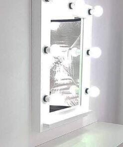 Espejo de teatro blanco de artistmirror con lámparas 7.