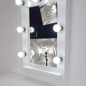 white theater mirror by artistmirror with 7 lamps.