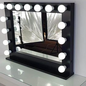 Hollywood mirror by artistmirror in black, landscape for hanging and setting, with 15 lamps.