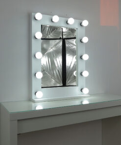 Theater mirror by artistmirror, 80x60cm, white, 12 lamps, modern and classically beautiful, noble and simple.