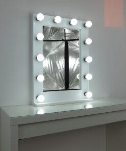 Gledališko ogledalo, ki ga je ustvaril umetnik, 80x60cm, bela, 12 svetilke, moderna in klasično lepa, plemenita in preprosta.