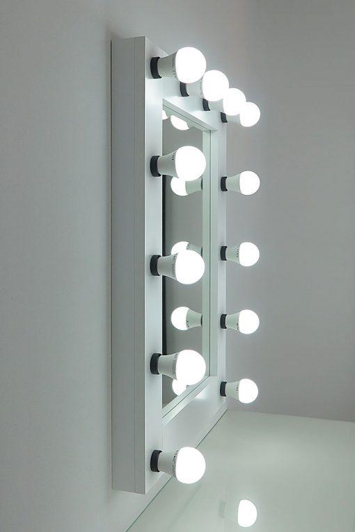Spiegel mit Beleuchtung, Theaterspiegel, 80x60cm, weiss, 12 Lampen, modern und klassisch schön, edel und schlicht.