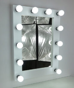 Espejo con iluminación, espejo de teatro, 80x60cm, blanco, lámparas 12, modernas y clásicamente bellas, nobles y simples.