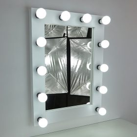 Mirror with lighting, theater mirror, 80x60cm, white, 12 lamps, modern and classically beautiful, noble and simple.