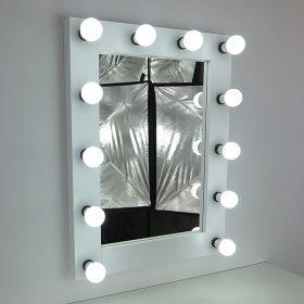 Ogledalo z osvetlitvijo, gledališkim ogledalom, 80x60cm, belo, 12 svetilkami, moderno in klasično lepo, plemenito in preprosto.