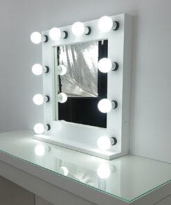 Gledališko ogledalo umetnika mirror- Deluxe v beli barvi, 60 x x60 cm, za stoječe in viseče, z umetniškim ogledalom.