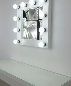 Theater mirror by artistmirror- Deluxe in white, 60 x x60 cm, for standing and hanging, by artistmirror.