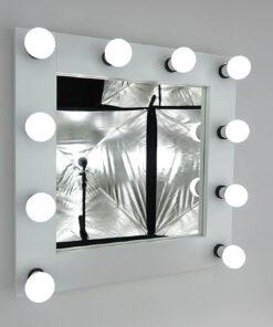 Theaterspiegel von artistmirror- Deluxe in Weiss, 60 x x60 cm, zum Stellen und Hängen, von artistmirror.