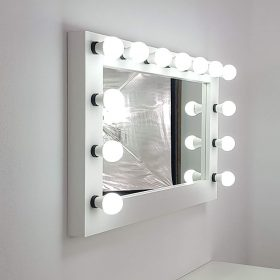 Make-up mirror with light, extra wide in white by FUNKTIONALIST.