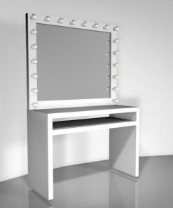 Hollywood Schminktisch, 183cm hoch, 120cm breit und 55cm tief mit 20 Lampen in weiß, von artistmirror. 3D-Model