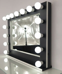 Theatermirror by artistmirror, large, landscape format, for setting and hanging, in black with white edges, with many functions.