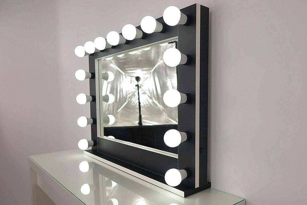 Specchio da parete, molto grande, nero, con lampade 15, by ...