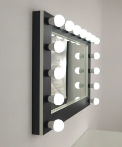 Wall mirror, large, landscape format, for setting and hanging, in black with white edges, by artistmirror. Many functions are selectable.
